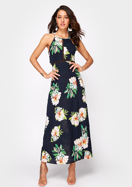 Floral Hollow Out High Split Maxi Dress