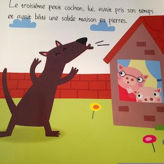 Les Trois Petits Cochons Le loup souffle sur la maison en pierres