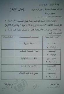 جدول ومواعيد امتحانات جميع كليات جامعة الازهر للعام 2018 الترم الاول