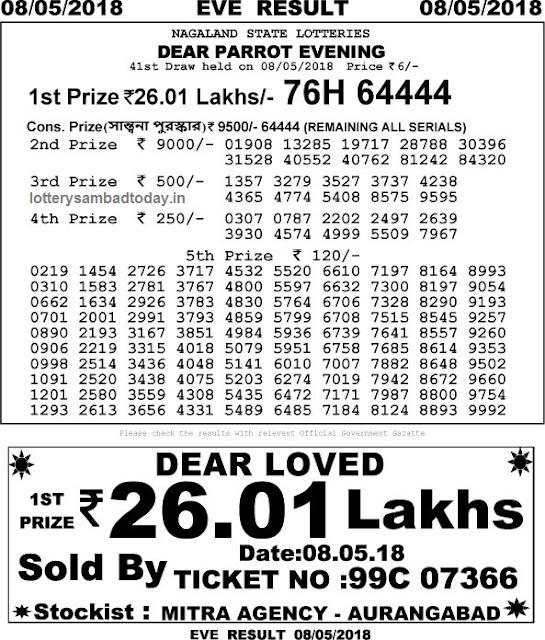 lottery sambad 8 may 2018 8pm result