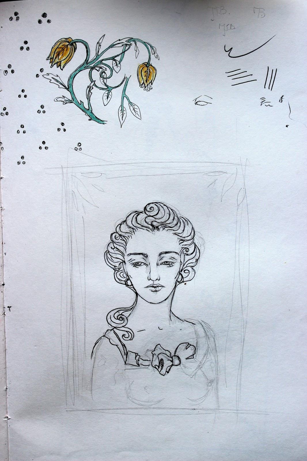 Sketchpad Notebook Sketch Drawing Pencil Pen Lady Flowers