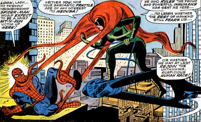 Amazing Spider-Man #62, don heck, john romita, her hair wrapped around his throat, medusa confronts spider-man as she stands astride her hover vehicle