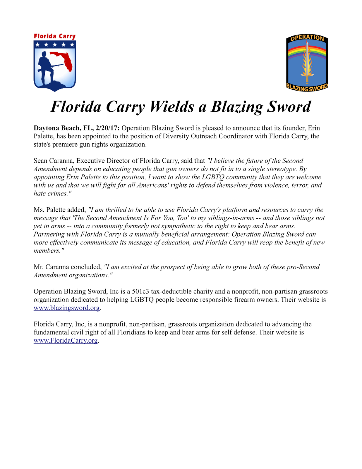 Florida Carry Wields a Blazing Sword