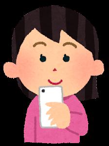 スマートフォンを使う女性のイラスト「笑顔」