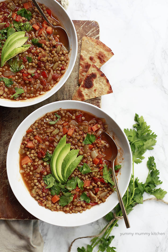 Mexican Lentil Soup is a healthy and easy vegan soup recipe.