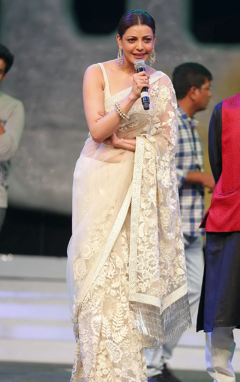 Kajal Aggarwal In White Saree At Film Release Function