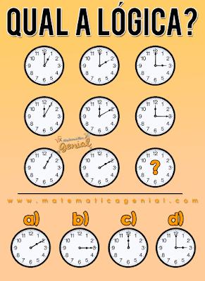 Desafio dos relógio - Qual é a lógica?
