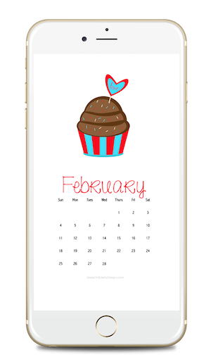 February 2018 free calendars for your desktop or phone wallpaper. Super cute cupcake!