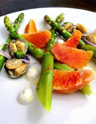Fraîcheur d'Asperges, Oranges Tarroco, Palourdes & Mascarpone