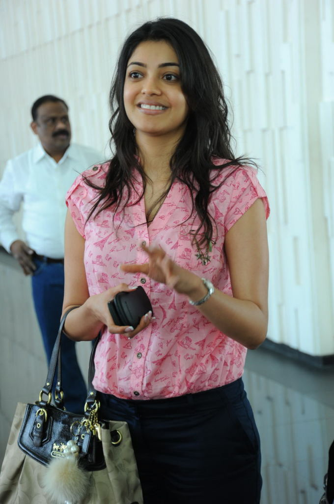 Indian Actress Kajal Agarwal Long Hair No Makeup Face Stills In Pink Dress