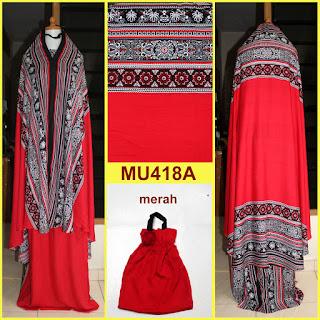 mukena bali motif songket warna merah mu418a