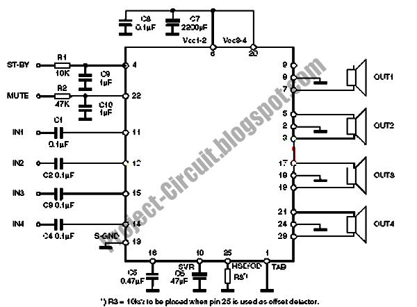 Free Project Circuit Diagram: TDA7850 Car Power Amplifier