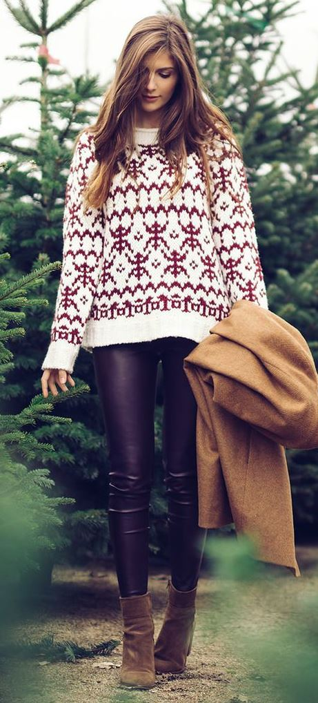 cute outfits with christmas sweater