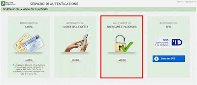 Domiciliazione Bancaria del Bollo Auto - Pagina di accesso al Portale dei Tributi tramite Username e Password