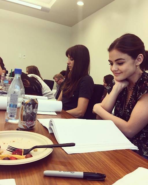 "PLL table read episode 7x11 ""Playtime"" Lucy Hale and Troian Bellisario"