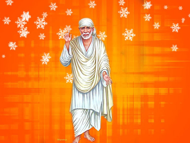 Best Lord Sai Baba  Wallpaper In Yellow Background