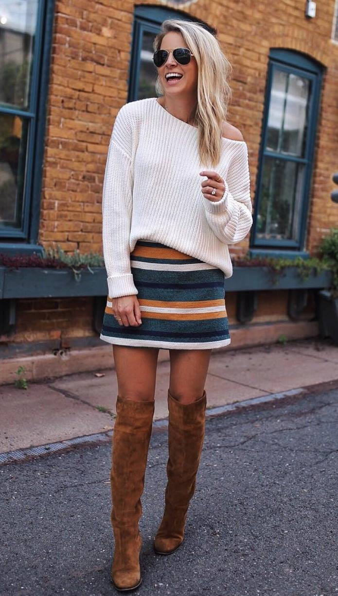amazing fall outfit idea / white sweater + striped skirt + brown over knee boots