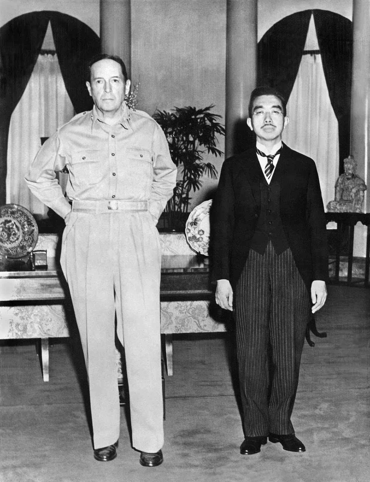 Many Japanese were extremely offended by this picture because of how casual MacArthur is looking and standing while next to the Emperor, who was supposed to be a god.