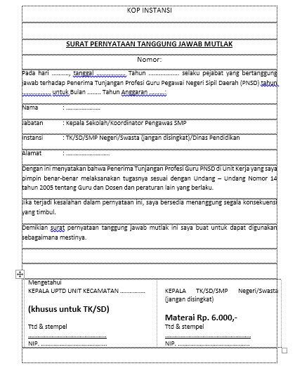 Contoh Surat Pernyataan Tanggungjawab Mutlak Sptjm Kepala Sekolah