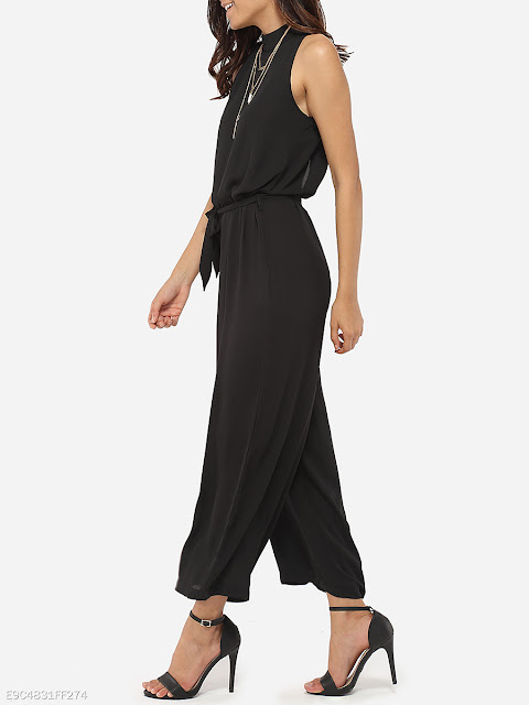 Loose Fitting Chiffon Plain Jumpsuits