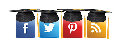 Image of social media icons with graduation caps