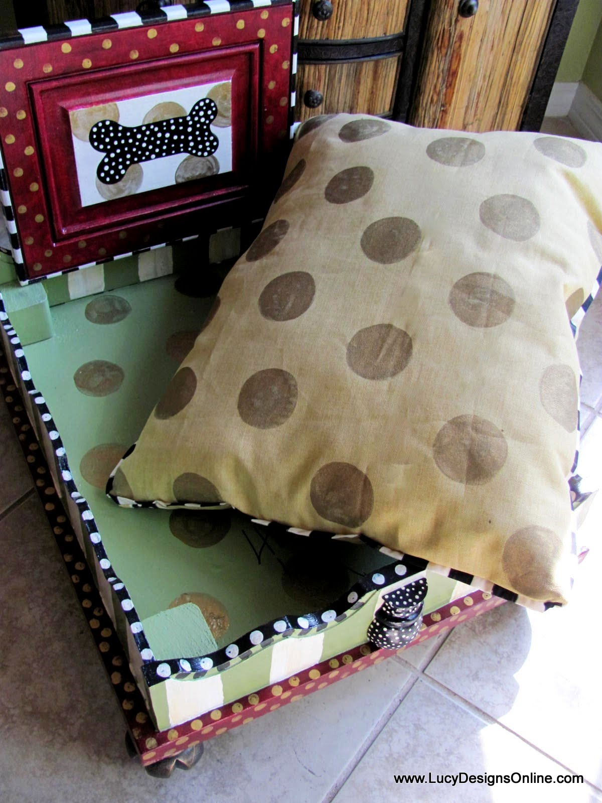 Hand Painted Dog Bed From An End Table With Hand Painted