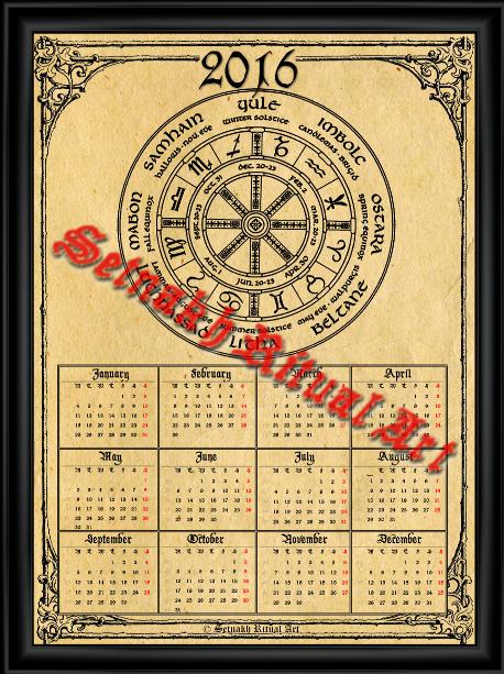 Pagan Calendar.Frater Setnakh Ritual Art Occult Pagan Viking Calendars 2016