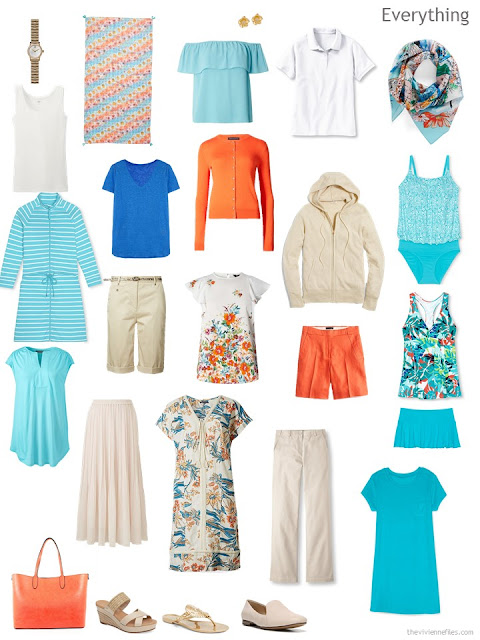 a warm weather travel capsule wardrobe in aqua, beige, white, blue and orange
