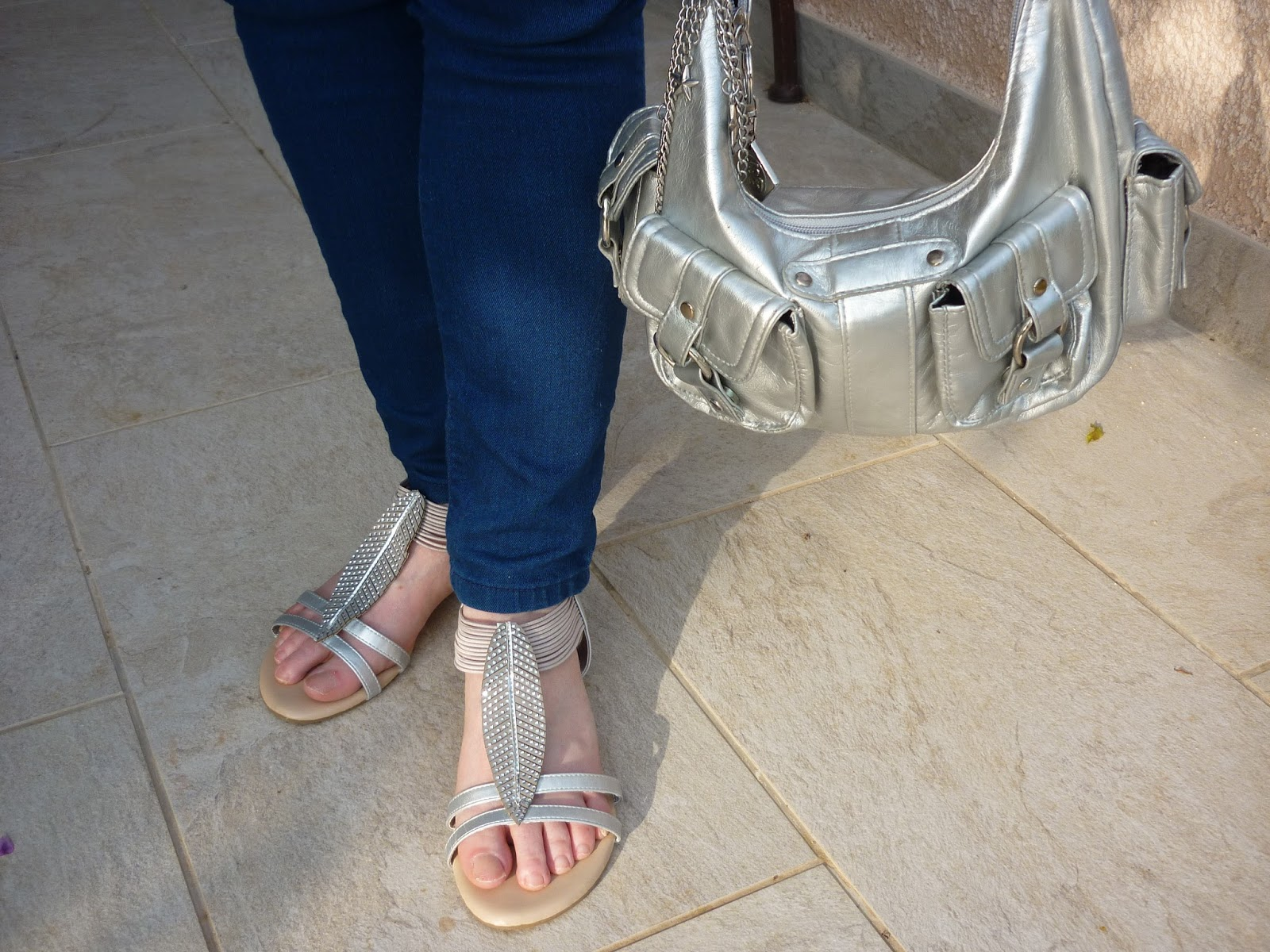 Front view of Silver Leaf Sandals and Silver Bag