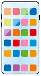 スマートフォンのイラスト3(アイコン)