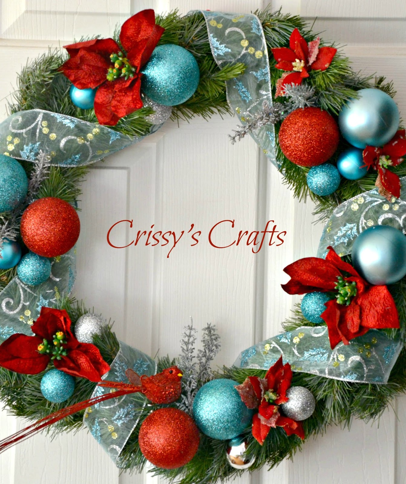 Red Turquoise Not Just For Holiday Decor: Crissy's Crafts: Red And Aqua Holiday Wreath