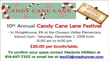 12-1 Vendors Wanted for 10th Annual Candy Cane Lane Festival