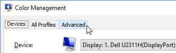 Color Management, Advanced tab