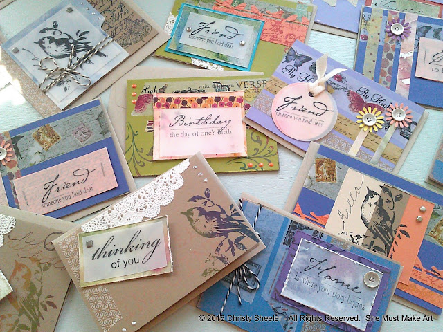 A snapshot of some of the intricately detailed note cards ready to sell.