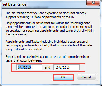 set date range - export calendar from outlook to excel