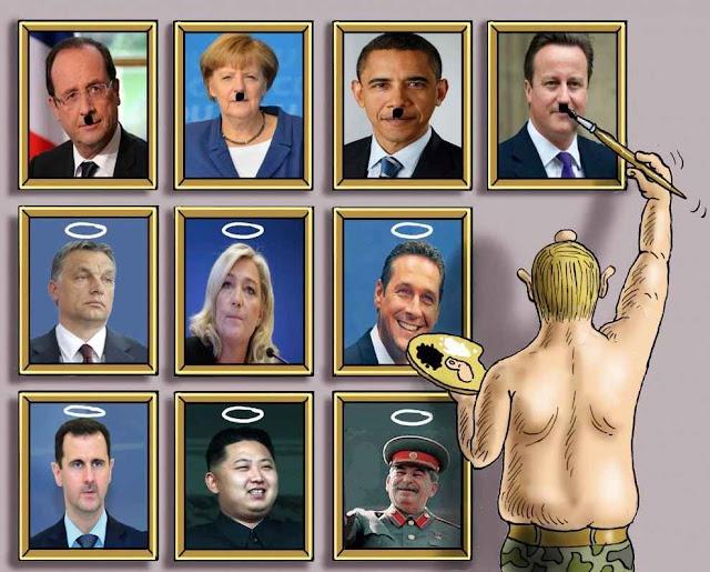 Putin determina quem será demonizaddo e quem canonizado  pela 'guerra da informação'. Amanhã poderá ser tudo o contrário, como em '1984'...