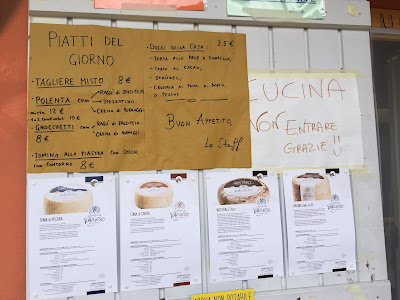 Menu at Rifugio Valasco, Piemonte