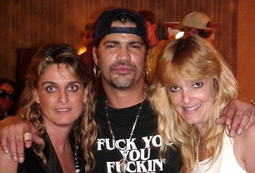 """FUCK YOU YOU FUCKIN' FUCK"" T-Shirt as worn by Slash posing with groupies    PYGear.com"