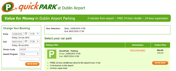 Dublin Airport Parking Promo code. Hi all, I am looking at booking some car parking from Dublin airport and it asks if I have a promotional code. Anyone know where these codes can be picked up from? Thanks in advance Thanks from: cookiesmuggler Advertisement.