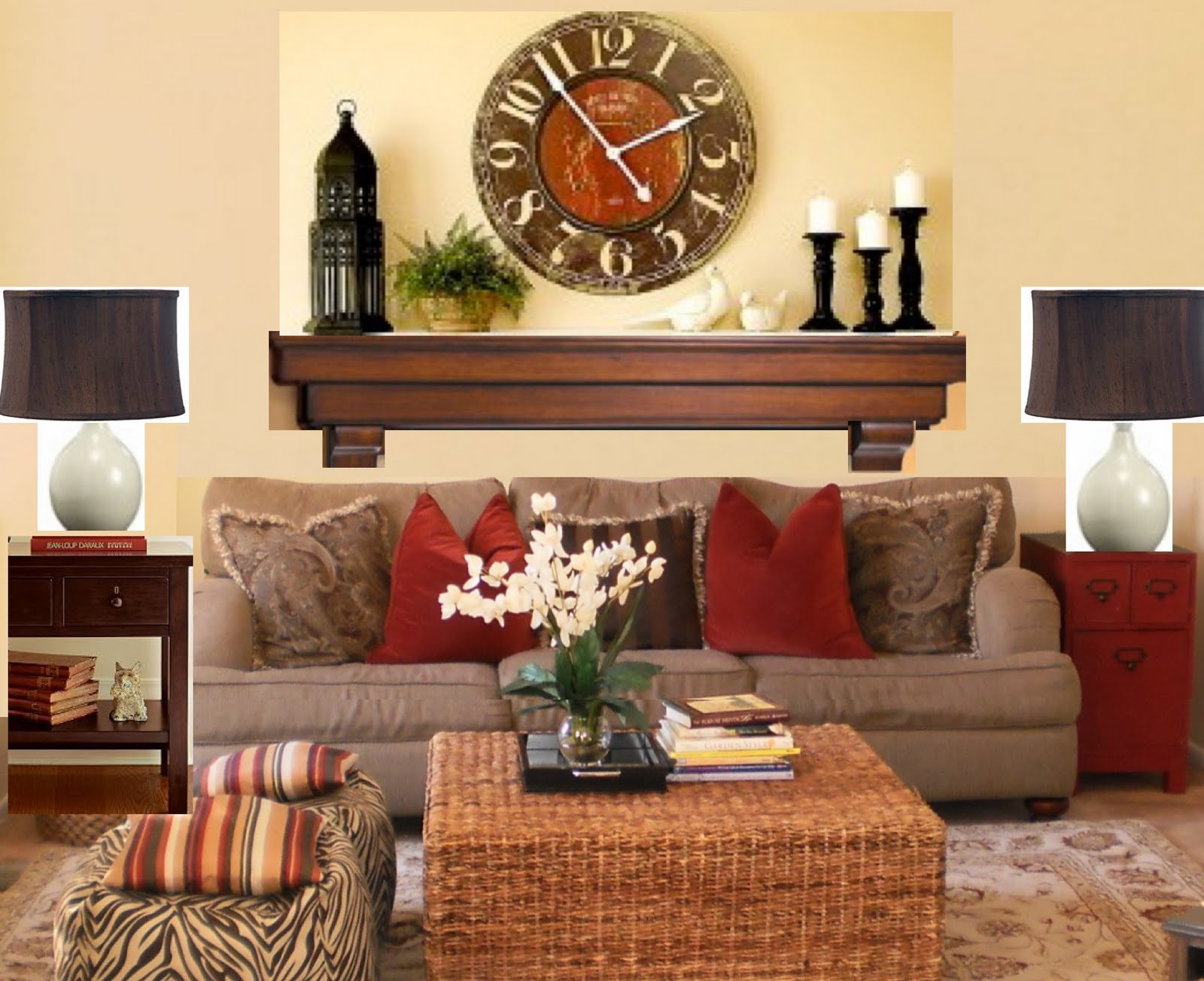 The yellow cape cod one wall 6 different looks - Over the fireplace decor ...