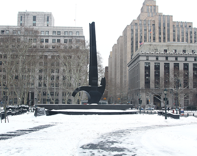 NYC WInter, Foley Square, Blizzard of 2015