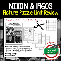 American History Picture Puzzles are great for TEST PREP, UNIT REVIEWS, TEST REVIEWS, and STUDY GUIDES, Nixon and 1960s