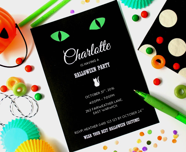 image of black cat halloween green cats eyes invitation black white green