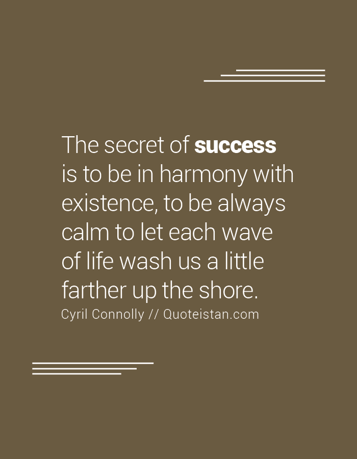 The secret of success is to be in harmony with existence, to be always calm to let each wave of life wash us a little farther up the shore.