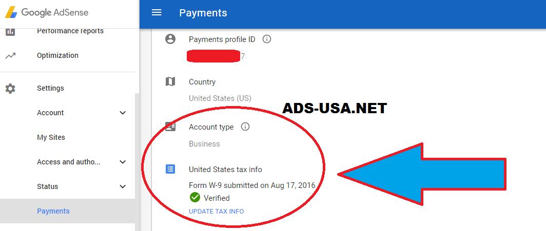 SSN tax Google AdSense Account