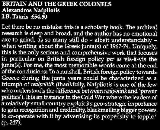 Book reviewed in the Anglo-Hellenic Review