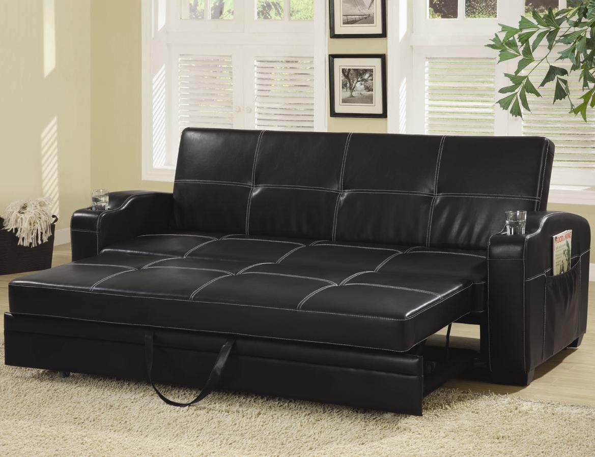 Leather Sofa Bed Pull Out Ikea Bad Click Clack Chair Modern