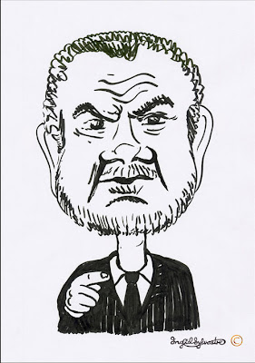 Lord Sugar caricature by UK caricaturist Ingrid Sylvestre