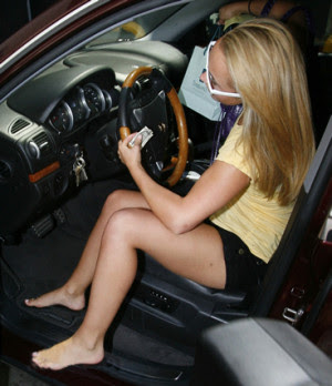 sexy girls driving barefoot