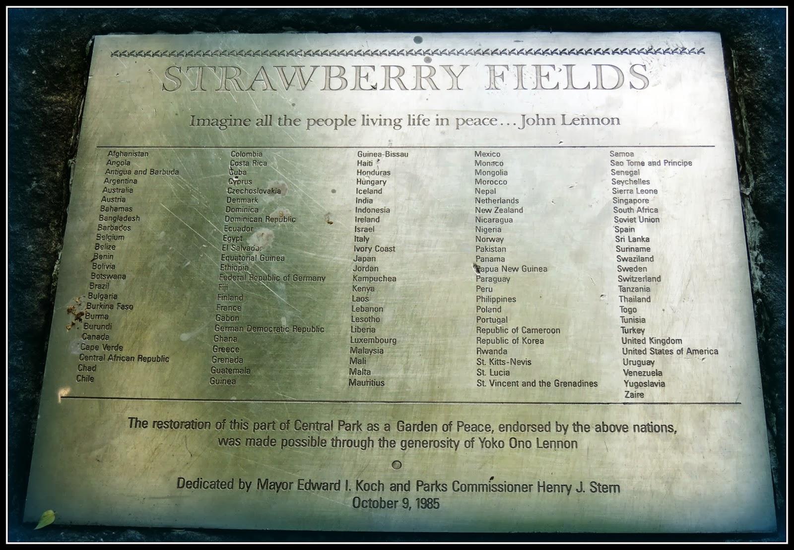 NY en 3 Días: Strawberry Fields en Central Park
